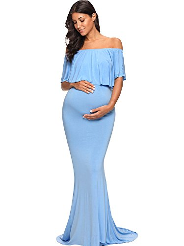 Love2Mi Womens Maternity Off Shoulder Ruffles Dress Mama Photography Slim Fitted Gown Maxi Blue