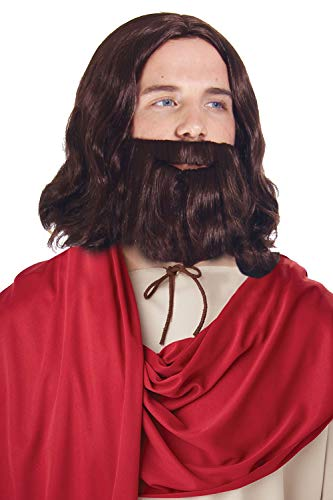 Simplicity Jesus Brown Full Wavy Wig With Beard Set and Free Wig Cap -