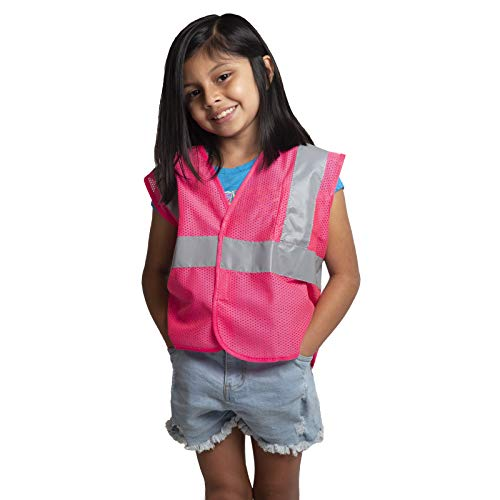 JORESTECH High Visibility Safety for Kids Theme Construction Costume, Biking and More. (Pink)