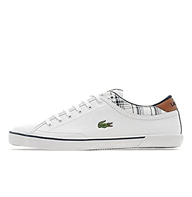 af964a96dacb Lacoste Angha LNC SPM Leather White Navy Blue Tan Chequered Mens (UK 12 USA  13 EUR 47)  Amazon.co.uk  Shoes   Bags