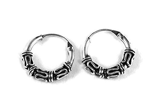 925 Silver Bali Tribal Fashion Earring Hoops Accessories for Women / Men 3/8