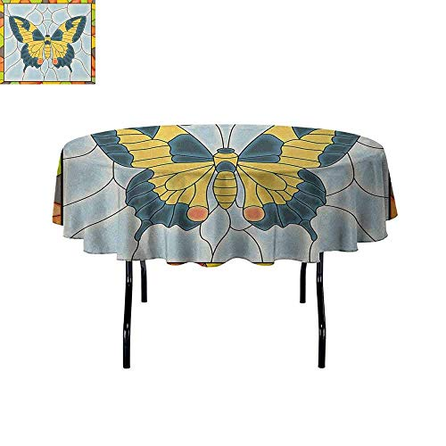(Butterflies Easy Care Leakproof and Durable Tablecloth Butterfly in Stained-Glass Window with Frame Wing Spring Garden Illustration Outdoor Picnic D70 Inch Multicolor)