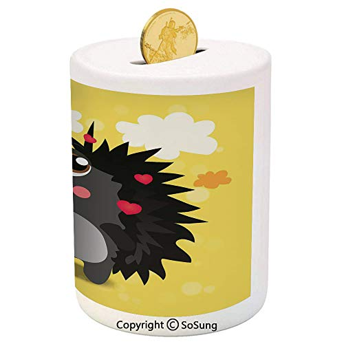 Clear Baby Pink Zebra - SoSung Hedgehog Ceramic Piggy Bank,Valentines Day Inspired Animal Cartoon Cute Little Hearts Colorful Clouds Decorative 3D Printed Ceramic Coin Bank Money Box for Kids & Adults,Yellow Black Pink