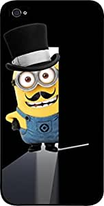 Minion Mustache Doorway - Hard Black Plastic Snap - On Case -Apple Iphone 6 Plus ONLY- Great Quality!