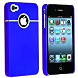 Importer520 Snap-on Chrome Hole Rear Rubber Coated Case compatible with Apple iPhone 4 / 4S (AT&T, Verizon, Sprint) Blue
