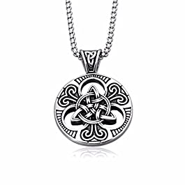 enhong Celtic Knot Necklace for Men,Stainless Steel Magic Double Side Solid Heavy Pendant with Chain