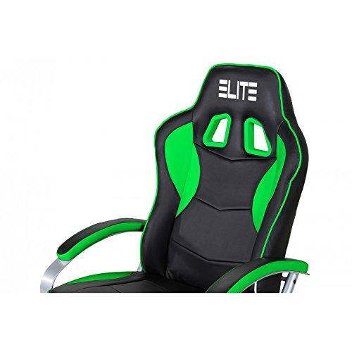 Oficina de y Gaming silla Elite MG de 300 de piel sintética con soporte fijo y reposapiés (diferentes colores, color Schwarz-Neongrün: Amazon.es: Oficina y ...