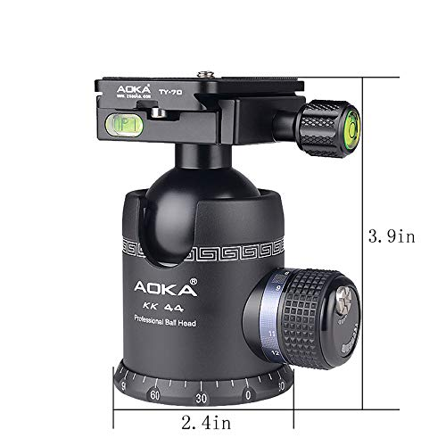 AOKA Professional 360-Degree Rotating Panoramic Ball Head with 1/4-inch Quick Release Plate, Self-Weight 1.08 lbs/0.49 kg, Maximum Load 66 lbs/30 kg, Suitable for Tripods, Monopod, SLR Cameras (KK44) (Ball Head)