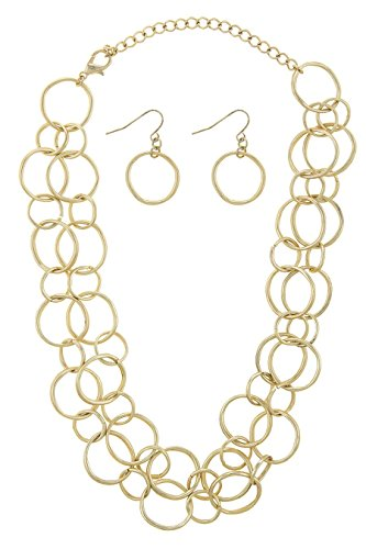 TRENDY FASHION JEWELRY HAMMERED TWO STRAND MULTI CIRCLE LINK CHAIN NECKLACE SET BY FASHION DESTINATION   (Matted Gold)