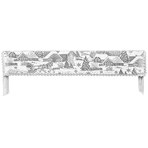 """Heritage Lace Sleigh Ride 20""""x96"""" White Mantle Scarf"""