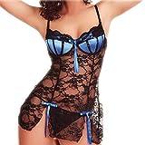 NewlyBlouW Fashion Women Lingerie, Cute Bow Lace Seamless Underwear Low-Rise G String Spice Suit Temptation Underwear Blue