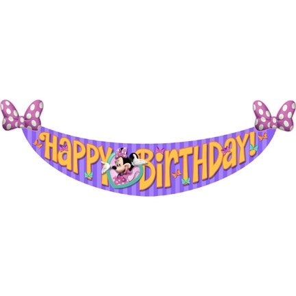 Minnie Mouse Birthday Banner - Minnie's Bow-Tique Dream Party Birthday Banner (1ct)