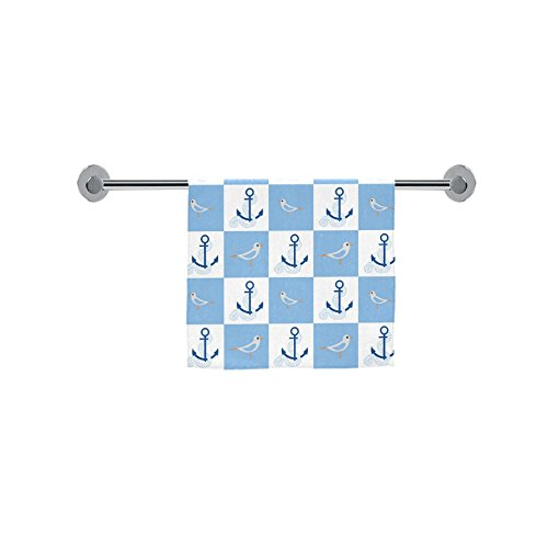 ADE Fashion Custom Towel White and Blue Nautical Chevron Anc