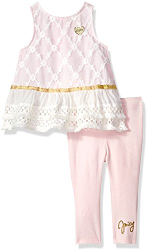Juicy Couture Baby Girls 2 Pieces Tunic Set, Light Pink/Vanilla, 18M