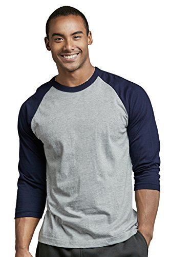 TOP PRO Men's 3/4 Sleeve Casual Raglan Jersey Baseball Tee Shirt (XL, NVY/LGR)
