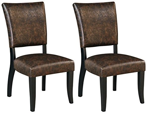 - Ashley Furniture Signature Design - Sommerford Dining Side Chair - Set of 2 - Casual - Brown Faux Leather - Black Wood Frame