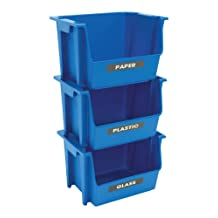 United Solutions EcoSense SB0120 Set of Three Blue Plastic Recycling Bins-3 Stackable Bins Featuring Paper, Plastic, and Glass Labels