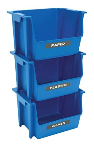 United Solutions EcoSense SB0120 Set of Three Blue Plastic Recycling Bins-3 Stackable Bins Featuring Paper, Plastic, and Glass - Paper Recycling Bin