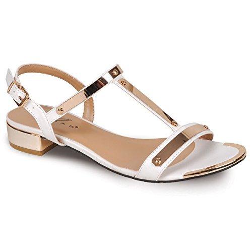 Fantasia - Sandalias de vestir para mujer Blanco / Oro