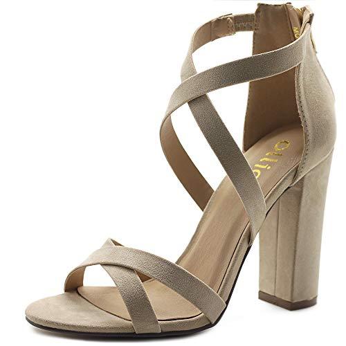 Ollio Women's Shoes Faux Suede Ankle Toe Cross Strap Zip Up High Heels Pumps Sandals H98 (7 B(M) US, -