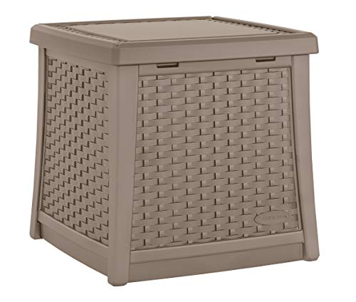 Suncast Elements End Table with Storage - All-Weather, Lightweight, Resin Constructed Patio Table for Storage of Patio Accessories - Outdoor Storage Box with 13 Gallon Capacity - Dark Taupe - Finished Storage Bench