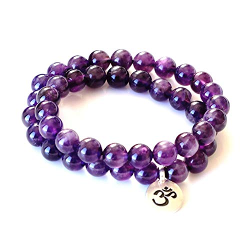 MeruBeads Premium Wrap Bracelet Round Amethyst - Small Size - Double Wrap Bracelet for Women - Amethyst Bracelet - February Birthstone Jewelry