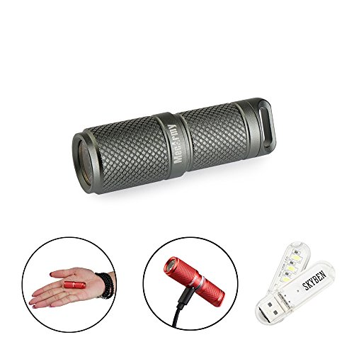 MecArmy X4S 130 Lumens USB Rechargeable CREE XP-G2 LED Key Chain Flashlight Mini Small Waterproof EDC Flashlight With 10180 Lithium Ion Battery With SKYBEN USB Light (Grey)
