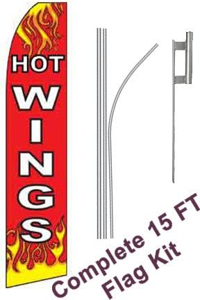 NEOPlex Includes 12 Swooper Feather Business Flag With 15-foot Anodized Aluminum Flagpole AND Ground Spike Hot Wings Red//White//Flames Complete Flag Kit