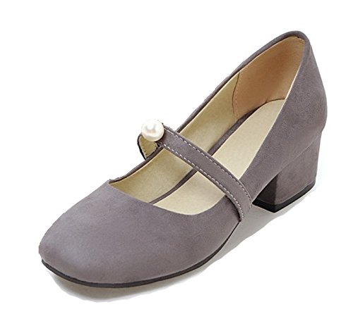 Aisun Women's Vintage Low Cut Square Toe Dress Slip On Block Medium Heels Mary-jane Pumps Shoes