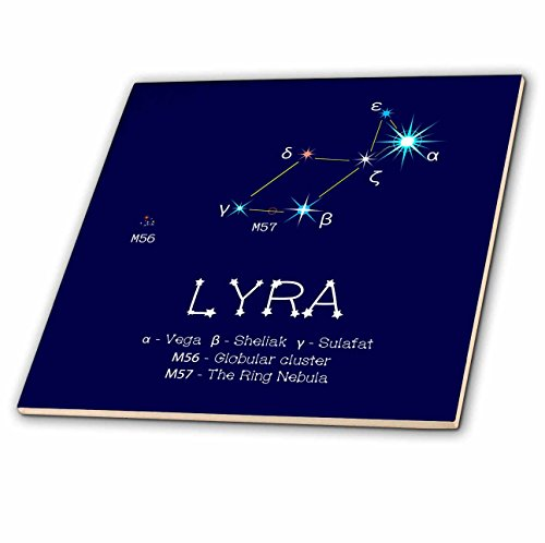 3dRose Alexis Design - Constellations of stars - Lyra star asterism. Vega stellar body. Star colors, names. Astronomy - 4 Inch Ceramic Tile (ct_286015_1)