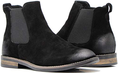 Enzo Romeo BL01 Men's Chelsea Boots Dress Fashion Slip On Suede Leather Ankle Boots (8.5 D(M) US, Black)