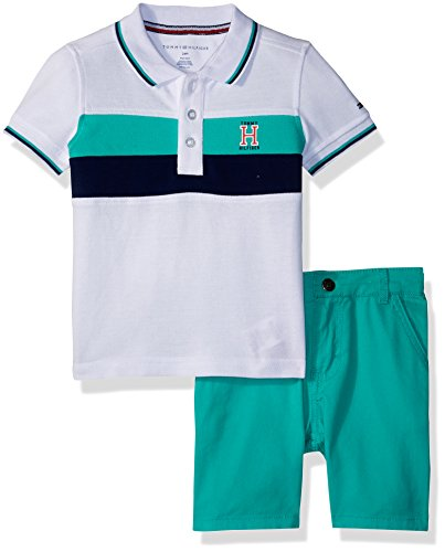 Tommy Hilfiger Baby Boys 2 Pieces Polo Shorts Set, White/Green, 6-9 Months
