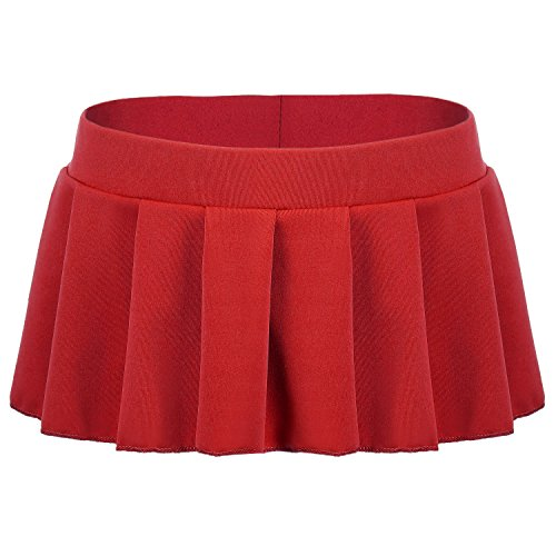 Avidlove Women Sexy Role Play Pleated Mini Skirt Ruffle Lingerie for Schoolgirl Red X-Large