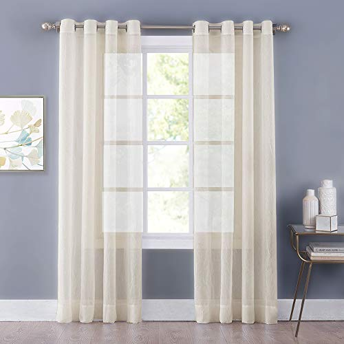 (NICETOWN Living Room Voile Panel Drapes - Crushed Sheer Window Curtain Crinkle Grommet Voile Draperies for Villa/Hall/Parlor (One Pair, W52 x L84, Beige))