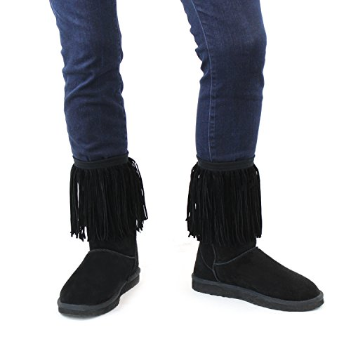 Black Women's Faux Suede Fringe Boot Cuffs; Vintage Style Boutique Leg Warmers