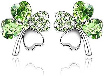 AK.SSI Boucles doreilles en cristal tr/èfle /à quatre feuilles