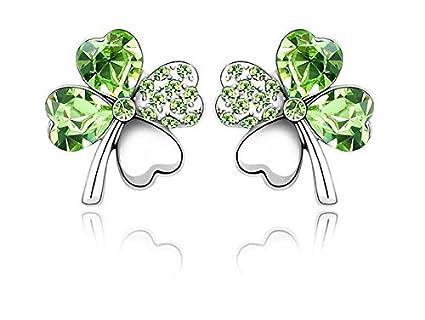 TO/_GOO 1 Paire De Nouvelles Boucles doreilles De Mode Tr/èfle Sweet Lady Boucles doreilles Vert