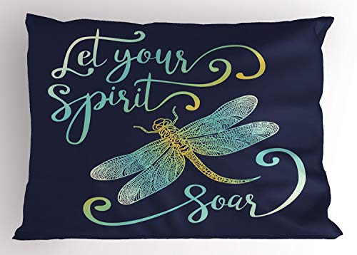 - Lunarable Inspirational Pillow Sham, Calligraphy Let Your Spirit Soar and Ornate Dragonfly Figure, Decorative Standard Queen Size Printed Pillowcase, 30 X 20 Inches, Pale Blue Yellow