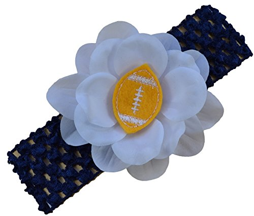 Baby Embroidered Felt Football Flower Headband (Navy Blue Band / Gold - Center San Fashion Diego