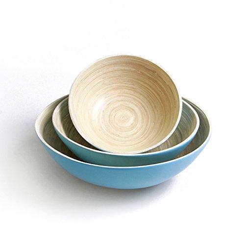 Bamboo Bowls Set of 3, Bamboo Mixing Bowls, by Gratefully Kitchenware, Arctic Blue, Handcrafted Spun Bambooware, Fruit Bowls, Display Bowls, Salad Bowls, Jumbo Large Tub, Large Medium Small ()