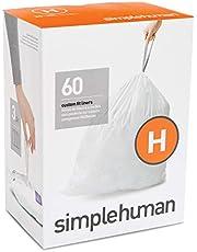 simplehuman Code H Custom Fit Liners, Drawstring Trash Bags, 30-35 L / 8-9 Gallon, 3 Refill Packs (60ct)