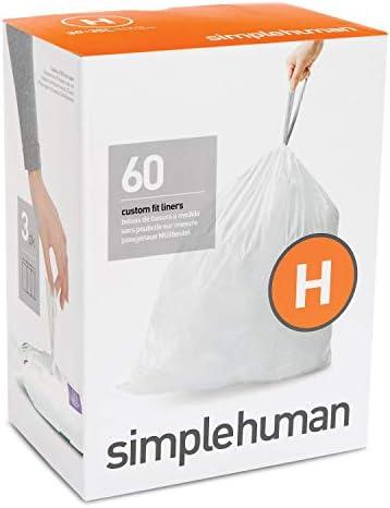 [해외]simplehuman Code H Custom Fit Drawstring Trash Bags 30-35 Liter  8-9 Gallon 3 Refill Packs (60 Count) / simplehuman Code H Custom Fit Drawstring Trash Bags, 30-35 Liter  8-9 Gallon, 3 Refill Packs (60 Count)