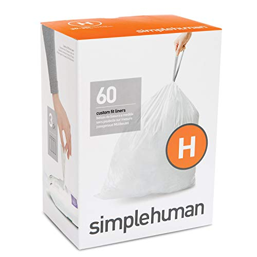 simplehuman Code H Custom Fit Drawstring Trash Bags, 30-35 Liter / 8-9 Gallon, 3 Refill Packs (60 Count)