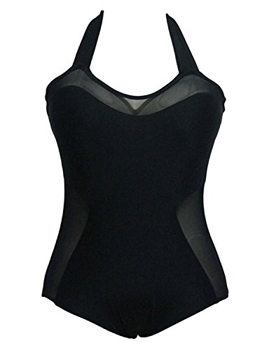 ompson Womens Bathing Suit Plus Size Sexy One Piece Mesh Swimsuit Swimwear 002#XL(US 4-6)