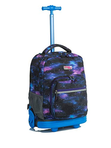 Rolling Wheels Backpack (Choies Rolling Backpack Wheels girls boys for Students Kids to School Travel 19 Inch, Galaxy Purple)