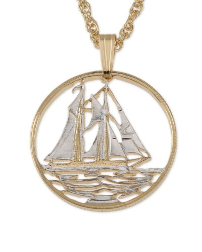 Sailboat Pendant & Necklace, Cayman Island 25 Cents Coin Hand Cut