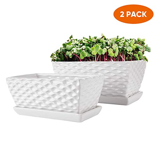 Rectangular Modern Flower Pots,White Ceramic Succulent Planter Pot with Drinage,Garden Pots with Hole,Planter Box with Saucer 2 Set