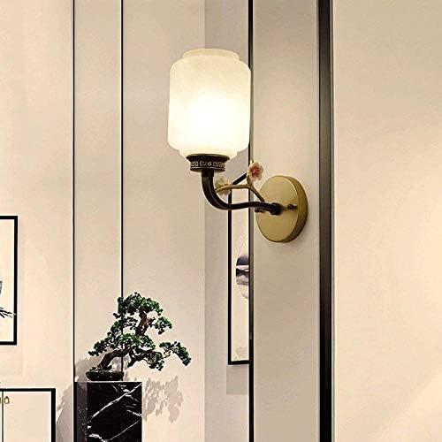 YGRHHP Wall lamp Chinese Iron Wall lamp Zen Glass Bedside lamp Bedroom Corridor lamp Creative Lighting