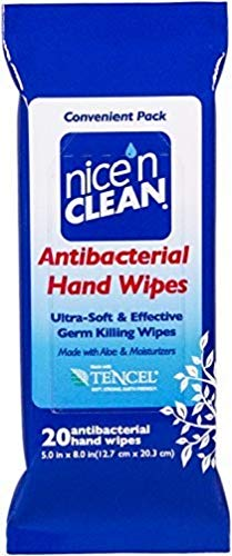 Nice 'n CLEAN Antibacterial Hand Wipes 20 Count (Pack of 36). Provides Unbeatable Cleaning and Protection! Kills 99.99% of Germs and Bacteria and removes 99% of Peanut allergens from Hard Surfaces.