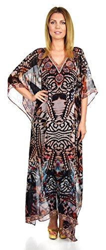 Embellished Kaftan - Dare2bStylish Women Summer Chiffon Kaftan w/ Embellished Rhinestone Work V Neck | Caftan Dress | Cover Up, Brown Multi, Medium